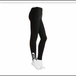 Nine West Criss Cross Black Yoga Leggings Sz S